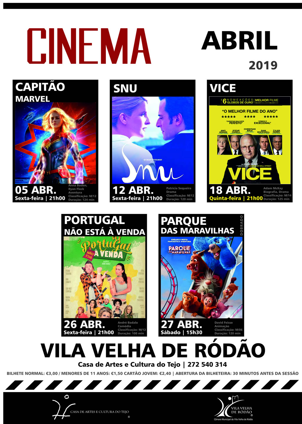 Cartaz Cinema Abril 2019