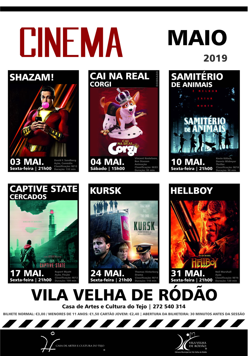 Cartaz Cinema Maio 2019